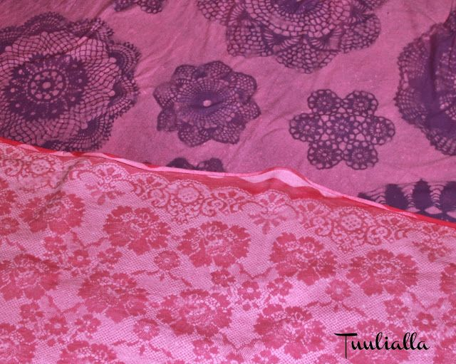 DIY lace fabric with old doily and bleach