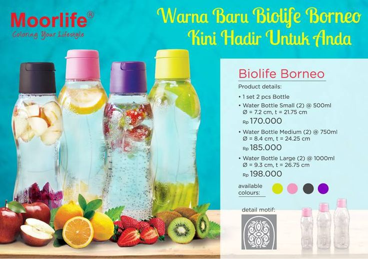 Moorlife Biolife Borneo 500ml / 750ml / 1.000ml 170.000 / 185.000 / 198.000 1 Set biolife borneo terdiri dari 2 pcs, dengan 2 pilihan warna dan 3 ukuran yang berbeda. Biolife Borneo di desain dengan motif ukiran khas kalimantan yang menarik