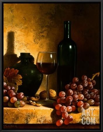 Wine Bottle, Grapes and Walnuts Framed Canvas Print by Loran Speck at Art.com