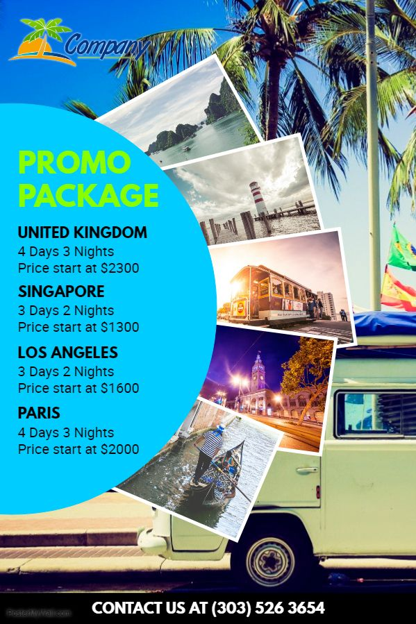 bus trip promo package advertisement travel pamphlet
