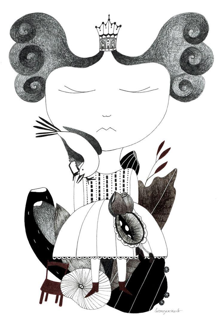 Little girl, ink on papper  http://www.iwonaszczepanik.com/