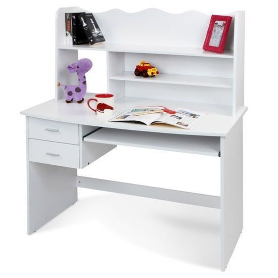 Children Writing Desk White Bookcase Computer Study Table Keyboard Tray  Drawers