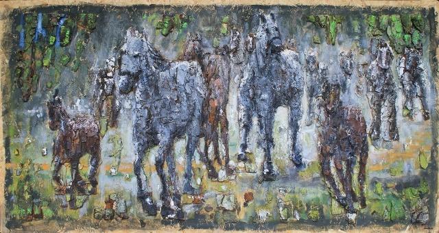 """""""Araby""""; """"Arabian horses"""" 125 x 67,5 cm"""