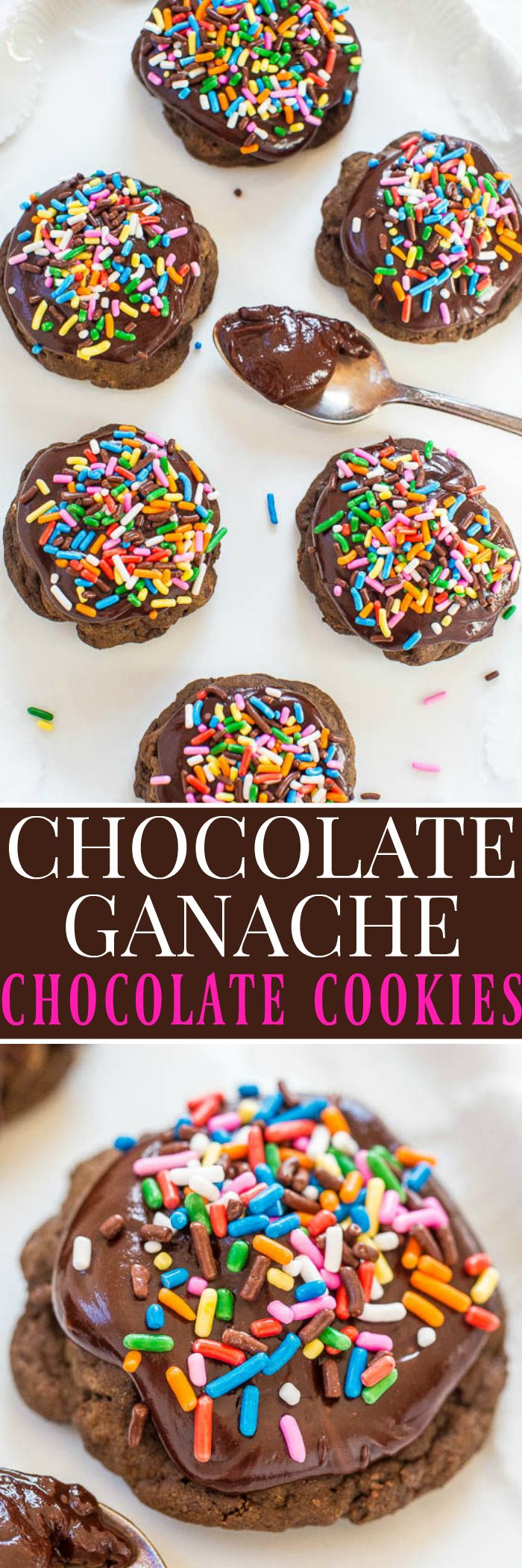 Chocolate Ganache Chocolate Cookies | Averie Cooks | A chocaholic's DREAM: Soft chocolate cookies with chocolate chips, cocoa, and topped with fudgy chocolate ganache!! Rich, decadent, and heavenly!!