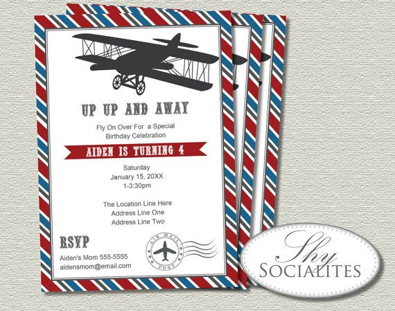 Airplane Invitations with amazing invitation layout