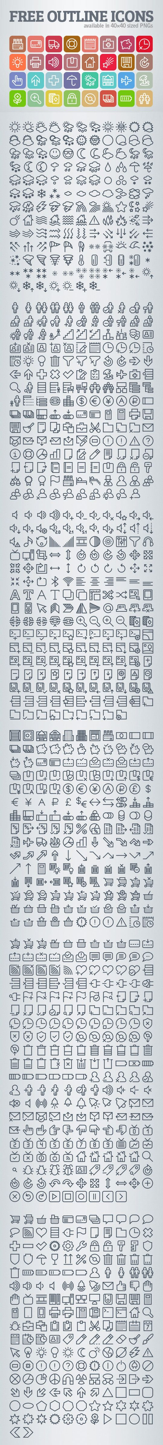 1000+ Free Outline Icons #outlineicons #freeicons #iconset