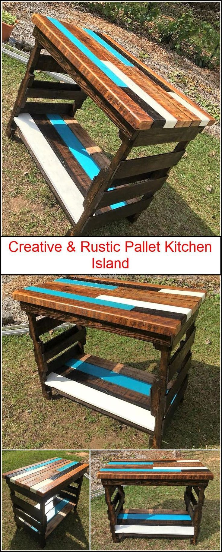 Wood pallets furniture is the right choice to decorate your kitchen beautifully. Recycle wood pallets and craft stylish furniture with it to add amazing collection of furniture to your kitchen. We are going to provide you Creative and Rustic Pallet Kitchen Island, that will help you in your kitchen tasks and at the same time it looks attractive and wonderful.