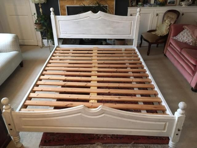 King Size Bed Hand Painted With Annie Sloan Chalk Paint White