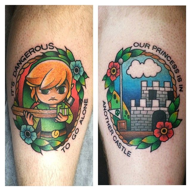 """""""Legend of Zelda tattoo to match the super Mario Bros. tattoo I did a while back. Super fun to do both these, I still try to play as much as possible and…"""""""