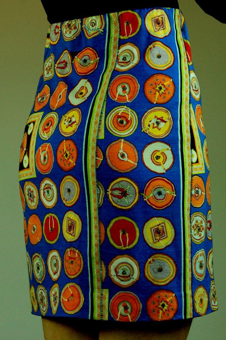 Юбка из остатков шерстяного трикотажа. На ткани, между прочим, изображены танцовщицы, вид сверху:).