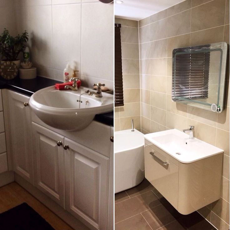 A before and after shot of the #sink area in one of our latest installs! We love helping our customers to make their #bathroom look the way they want it #interiordesign #tiling #mirror #love #modern https://instagram.com/bathroomboutiqueltd/