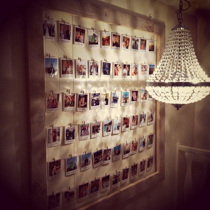 Fotoframe steigerhout met polaroid foto's