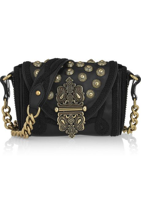 Etro Embellished Black Leather Shoulder Bag ♡