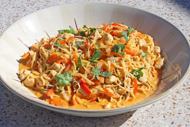 Red Curry Coconut Noodles Recipe:  this is completely delicious. I used half the chicken broth & added one cup of peanut butter. So, so good!!!