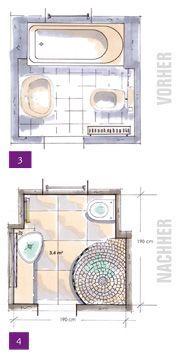 Room layouts Kleine Bäder, Minibäder, Kleine Badezimmer unter 4m²