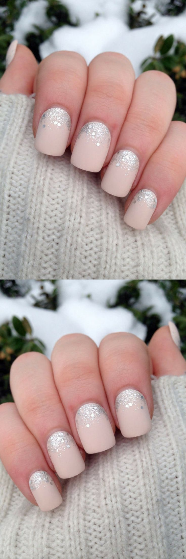 I love the look of these!!!! Beautiful pink nails with silver glitter!!! #glitternails #winternails #newyearnails #ad #nailart #naildesigns