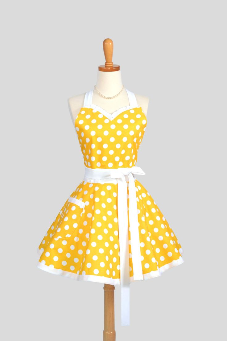 Sweetheart Retro Apron / Handmade Womens Full Kitchen Apron in Yellow and White Large Polka Dot. $40.00, via Etsy.