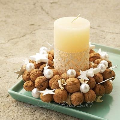 walnut wreath with white stars
