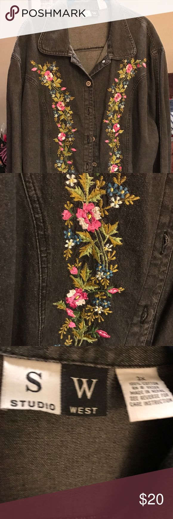 Studio West Jean jacket and skirt Jean jacket with shirt. 100 percent cotton. Embroidery on the jacket and skirt. Skirt has elastic waist and 2 side slits jacket id button up front.  Very slightly distressed appearance. Excellent condition. Studio West Dresses
