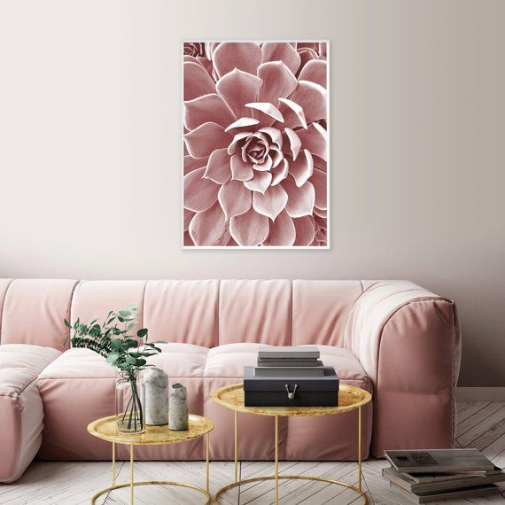 Printable Blush Pink Succulent Downloadable Dusky Pink Botanical Poster Minimalist Leaf Wall Decor Scandinavian Instant Download Wall Art Rosa Altrosa Und Etsy
