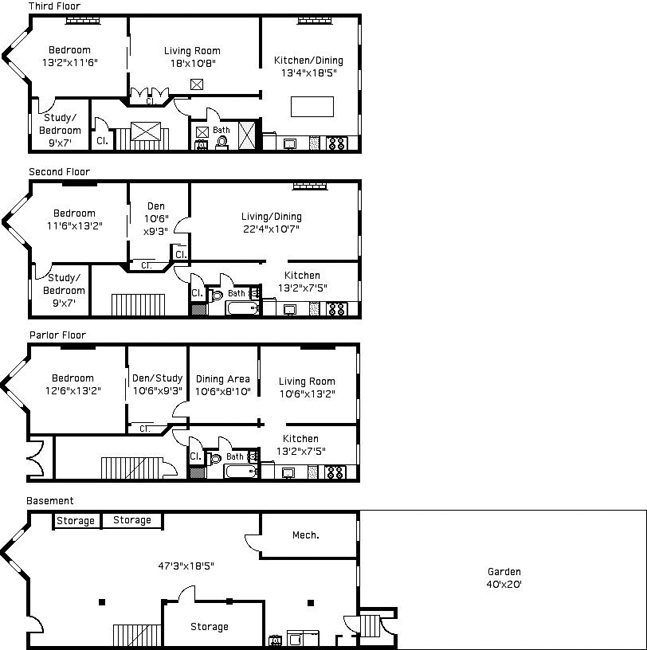 Brownstone Late Victorian House Floorplan Young