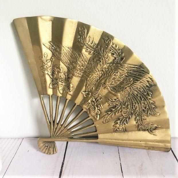 Vintage Brass Chinese Fan Phoenix Bird Asian Solid Brass Wall Hanging Decor Brass Wall Hanging Hanging Wall Decor Vintage Brass
