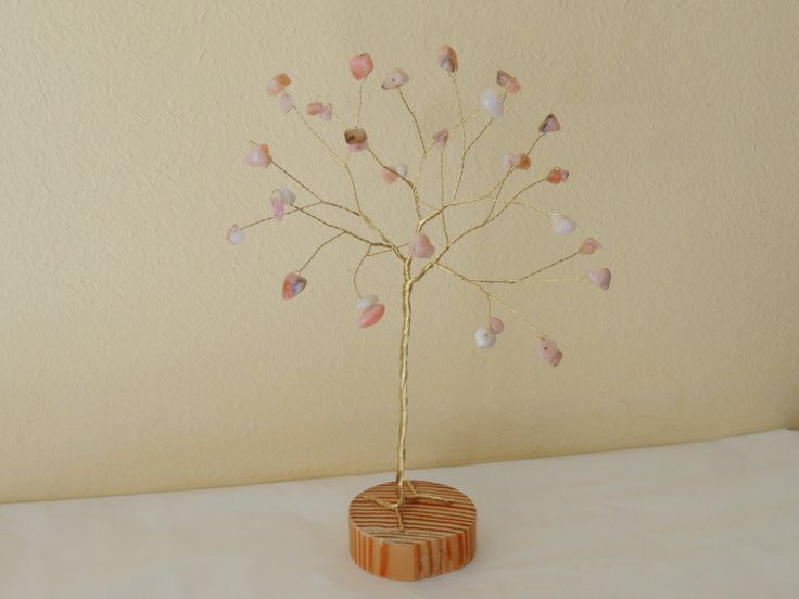 Pink Opal gemstone tree, Pink Opal anniversary gift, Peace stone, Opal tree of…