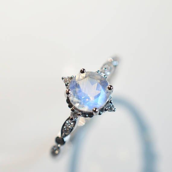 Moonstone Engagement Ring Blue Moonstone Engagement Ring 18k