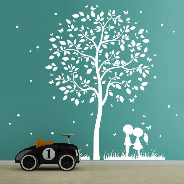 Stunning Wandtattoo Baum mit Kindern Schmetterlinge M