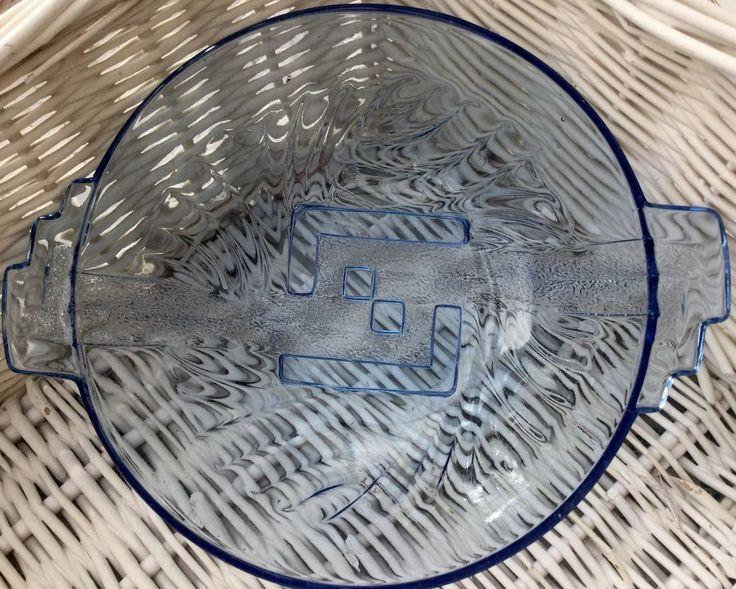 STOLLE NIEMEN BLUE GLASS ART DECO STYLE LARGE FRUIT OR TRIFLE BOWL c1930s POLAND