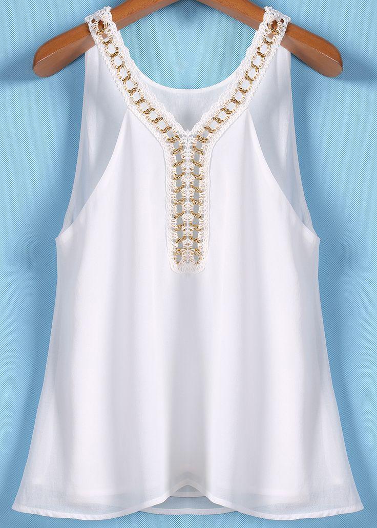 White Chain Spaghetti Strap Chiffon Vest - Sheinside.com