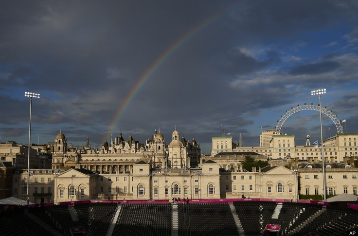 Rainbow appears near the Horse Guards Parade at the 2012 Summer Olympics, London,