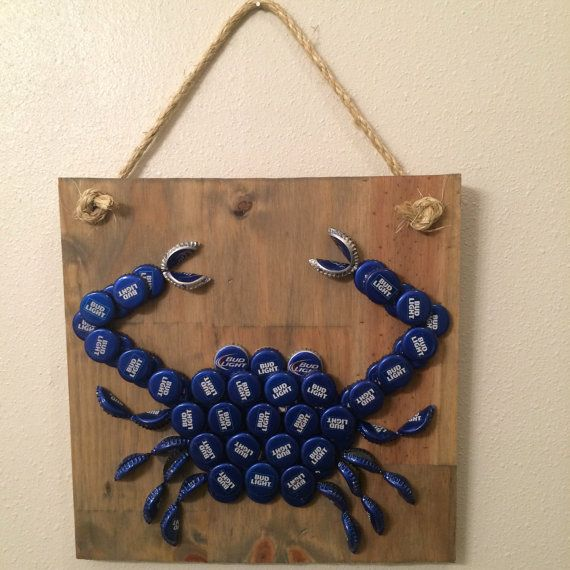 Over 75 bud light beer bottle caps were recycled to create for Bottle cap wall
