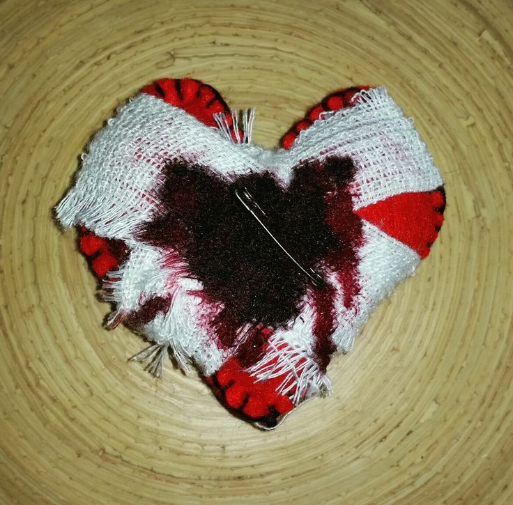 My Wounded Heart by Ashen Remains. #felt #handstitched #pincushion #blood #heart #bandaged #ashenremains