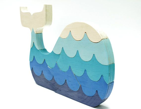 Children's Blue Painted Whale Wood Puzzle with Waves. We love the colors and the shape! #carouseldesigns #pinparty