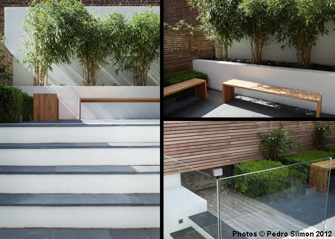 white rendered walls horizontal fencing and contemporary planting
