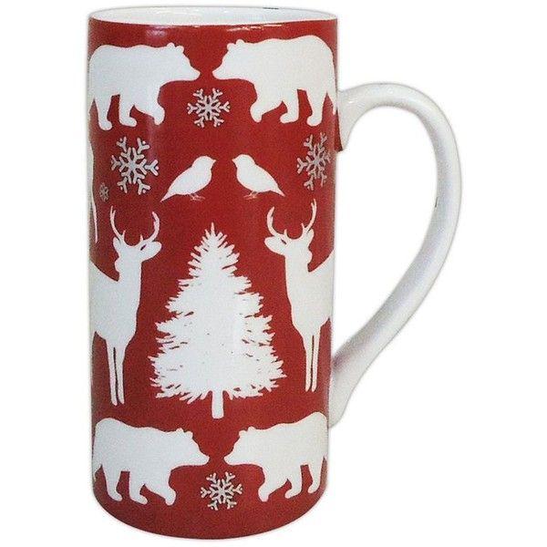 Food Network Modern Holiday 16-oz. Tall Mug (Cocoa) (8.74 CAD) ❤ liked on Polyvore featuring home, kitchen & dining, drinkware, stoneware mugs, cocoa mugs, holiday mugs, chocolate mug and wizard of oz mug