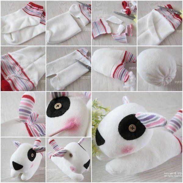 Verschiedene Tiere aus Socken basteln - Anleitung-dekoking-com
