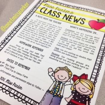 Revised 1/24/15 Class Newsletter EDITABLE Template! This is simply a template for you to use for your weekly/monthly class news. This free template is editable, however the borders and clipart have been flattened due to the terms of use for the images.