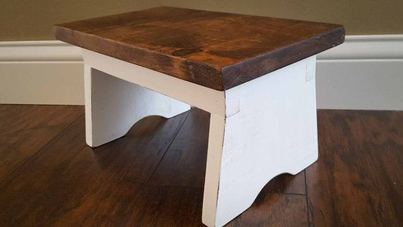 This rustic style step stool is the perfect to your kitchen, bathroom or kids bedroom. It is 13 wide x 7.5 deep and 7 tall. It can be customized with your choice of paint color.