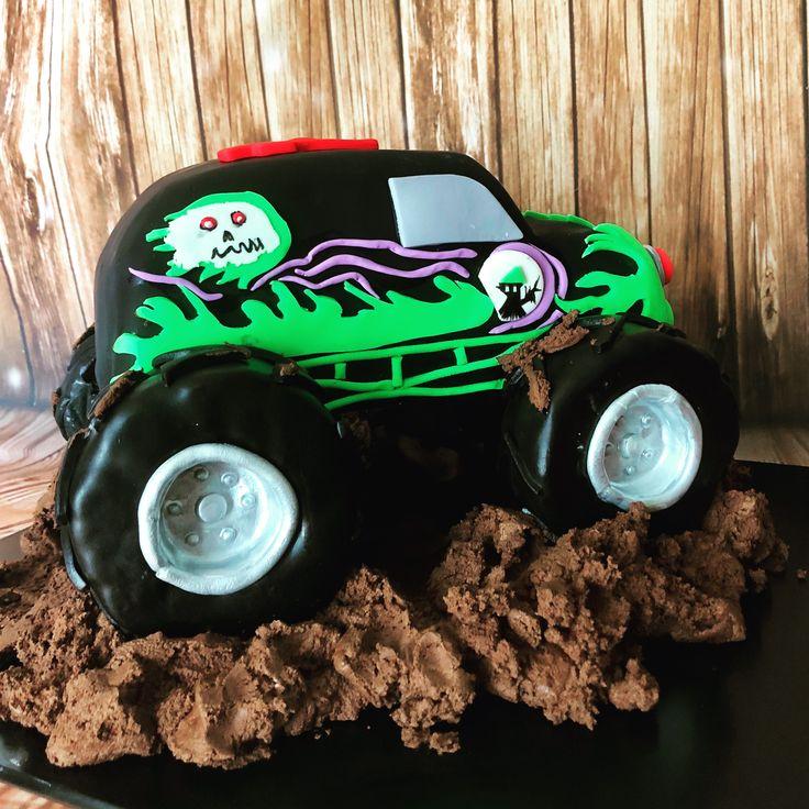 Grave digger cake, monster truck cake