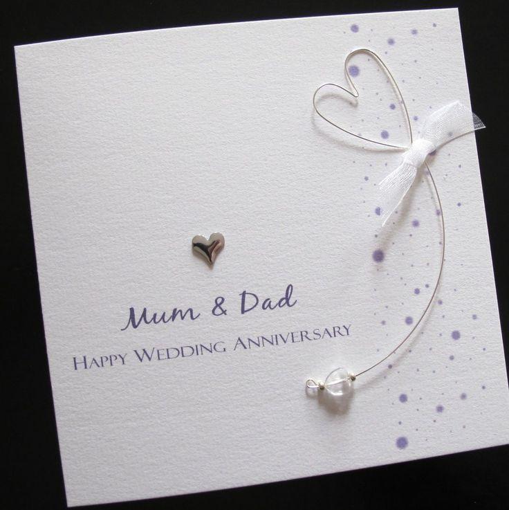 wedding anniversary greeting cardhusband%0A Personalised Handmade Wedding Anniversary Card Mum Dad Husband Wife