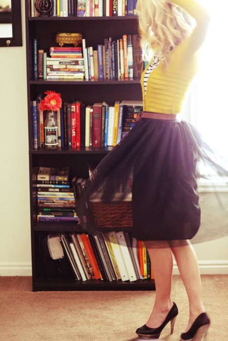 Such a great work outfit, I love the skirt with the sheer layer.Tutu Skirts, Colors Combos, Full Skirts, Chiffon Skirt, Tulle Skirts, Be A Girls, Stripes Shirts, Layered Layered, Work Outfit