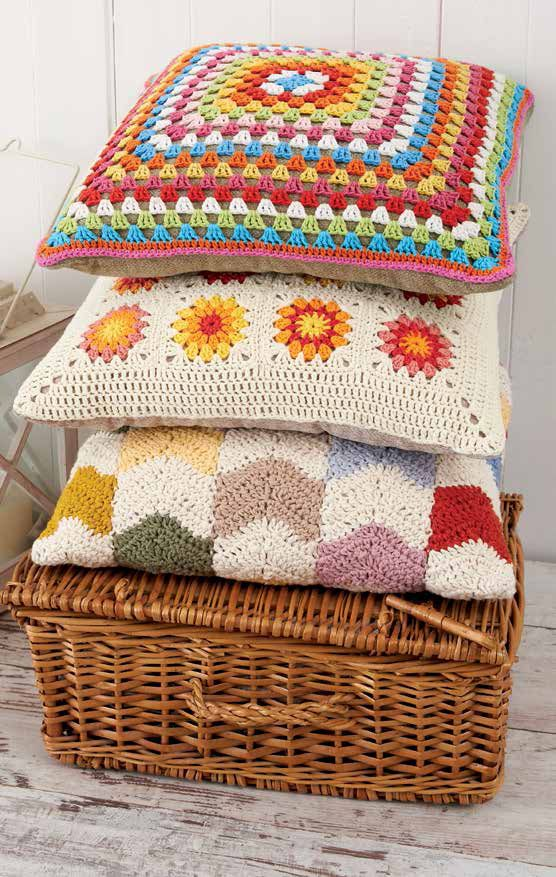 Simple granny squares build up to make a series of colorful, cozy pillows. From the book Boho Crochet.