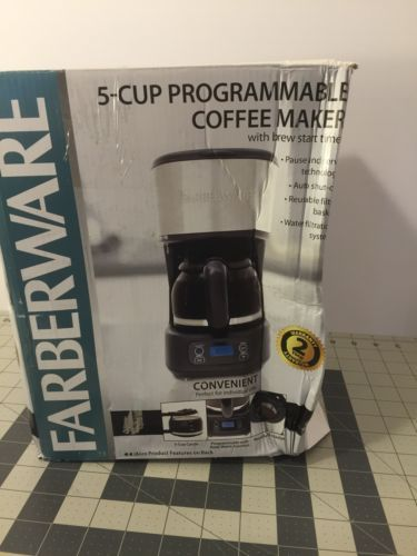 Farberware 5-cup #programmable coffee maker with #built-in #fiiter  ,  View more on the LINK: http://www.zeppy.io/product/gb/2/221928608697/
