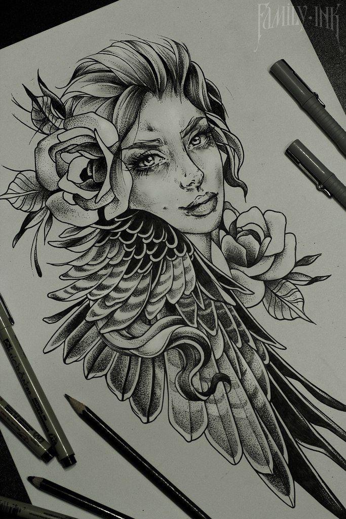 Girl Face Sketch By Family Ink #blacktattooart #tattoosketch #rosetattoo #artu2026 | Tattoo ...