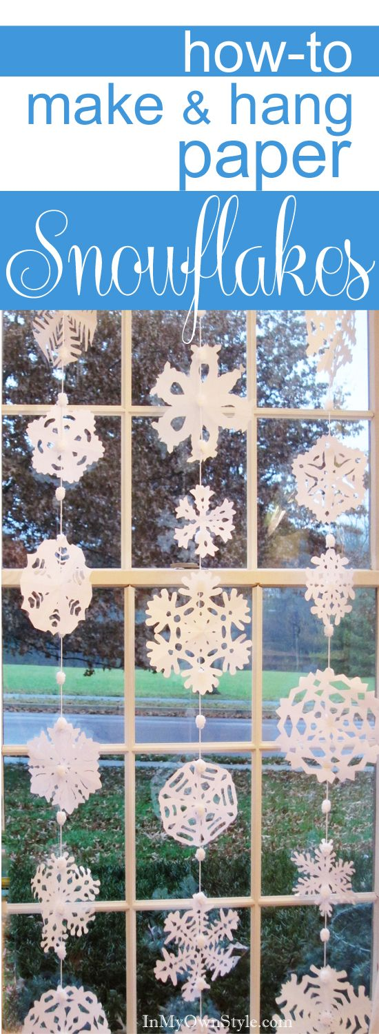 Best way to make and hang paper snowflakes at a window