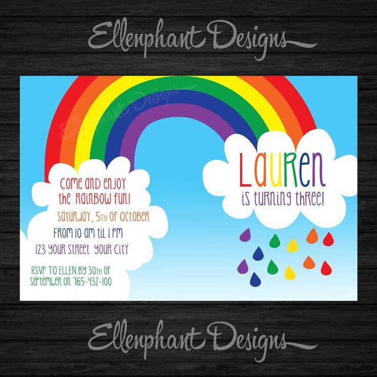 The 25+ best Rainbow party invitations ideas on Pinterest ...