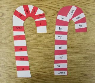 Sweet Holiday Sight Word Center ~ Sight word candy canes. (Free idea from Carolyn Kisloski.)