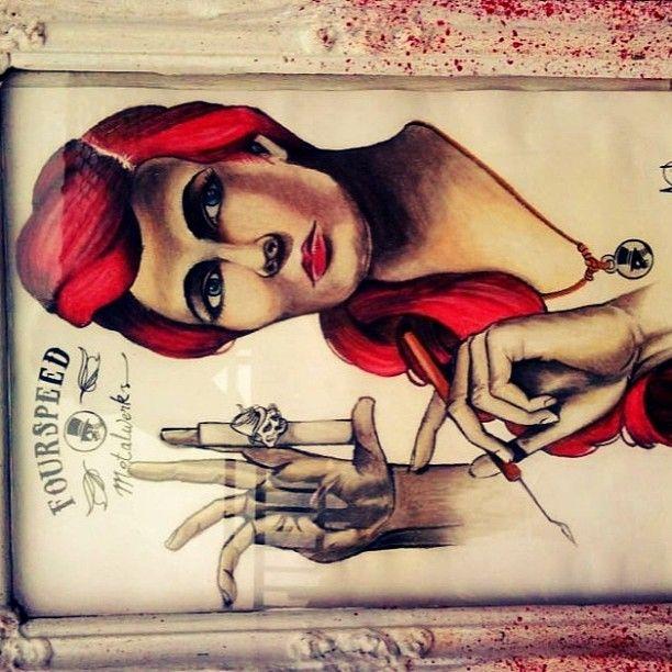 avrilliarts photo #pinupsgirl #masterartsculpting #derwentpastelcollor #cansonpaper #bloodyframe